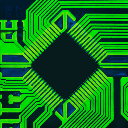 microprocessor: Abstract photo of an electrical board with a microprocessor in the center