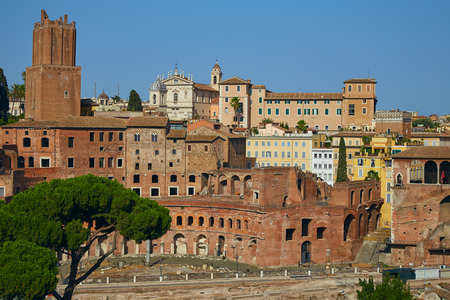 trojans: Panorama of the Troyan market, part of the Roman forum, with a police tower in the background in a summer sunny day Stock Photo