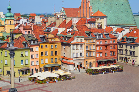 View of the main square of the old town in Warsaw, Poland on a clear summer day