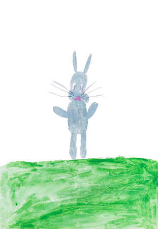 Childs drawing watercolor grey rabbit on a green meadow
