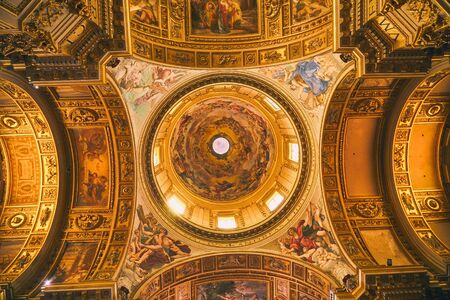 ROME - AUGUST 3: Stunning decorated ceiling with icons in church of the Gesu August 3, 2017 in Rome Italy