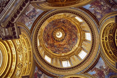 ROME - AUGUST 3: Ceiling of Basilica Sant'Agnese in Agone August 3, 2017 in Rome, Italy