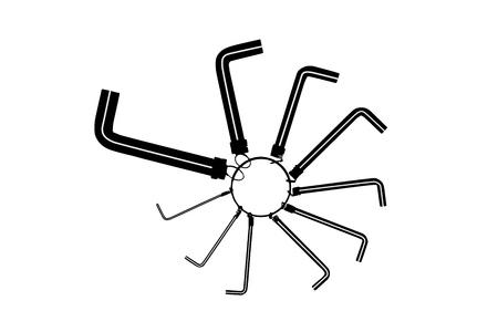 Set of Allen wrench key of different sizes Illusztráció