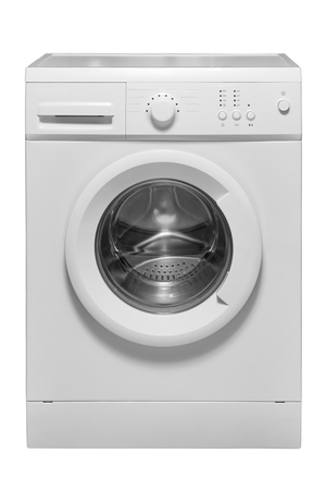 A white modern automatic washing machine with a closed hatch is isolated.