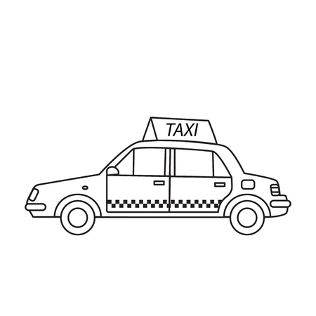 A taxi cab with a sign on the roof in the line art style