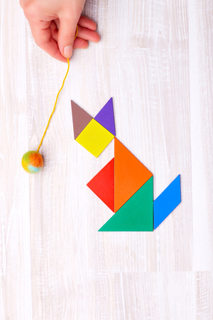 Flay lay of colorful tangram figures arranged in shape of cat that plays with ball on wooden table