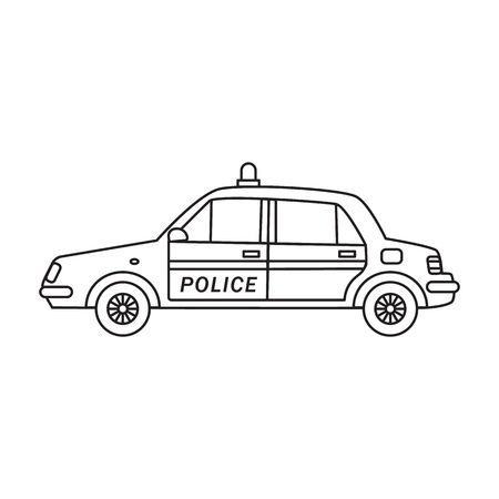 Police car with flashing lights on the roof in the line art style
