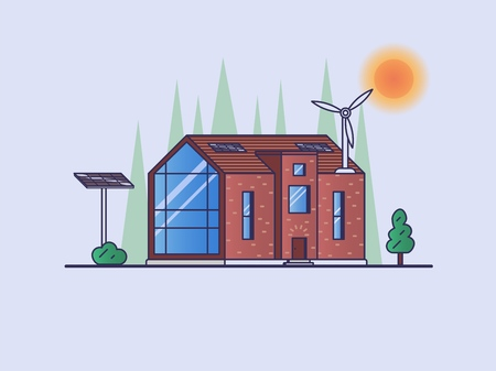 Modern house with eco-technologies - several solar panels and a wind turbine on the roof Ilustração