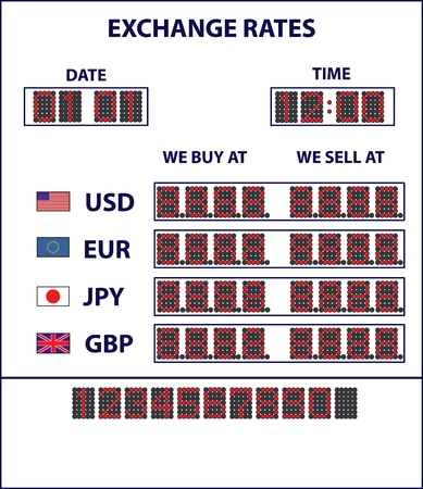 White currency display with exchange rates of different currency 向量圖像