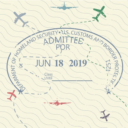 International travel visa passport stamp icon for entering to USA 矢量图像