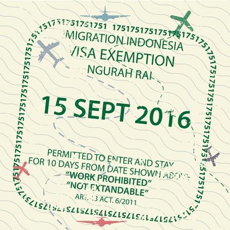 Icône de timbre de passeport de visa de voyage international pour entrer en Indonésie