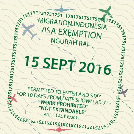 International travel visa passport stamp icon for entering to Indonesia