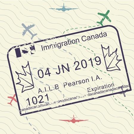 International travel visa passport stamp icon for entering to Canada