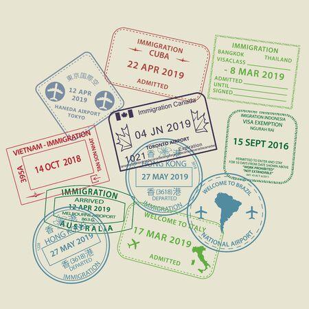 Set van internationale reisvisa paspoort stempel iconen voor het invoeren van Australië, Thailand, Brazilië, Canada, Cuba, Hong Kong, Indonesië, Vietnam