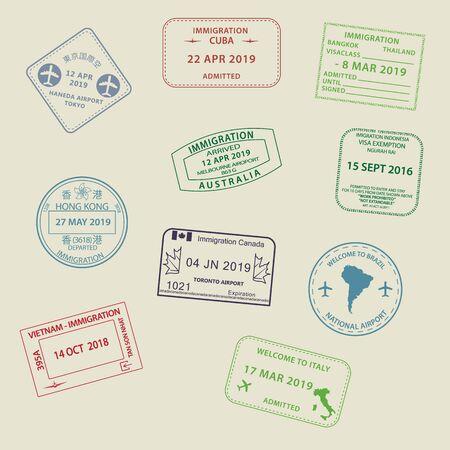 Ensemble d'icônes de timbres de passeport de visas de voyage internationaux pour entrer en Australie, Thaïlande, Brésil, Canada, Cuba, Hong Kong, Indonésie, Vietnam