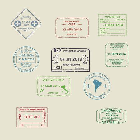 Satz von internationalen Reisevisa-Passstempelsymbolen für die Einreise nach Australien, Thailand, Brasilien, Kanada, Kuba, Hongkong, Indonesien, Vietnam mit Grunge-Textur Vektorgrafik