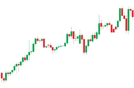Japanese candlestick red and green chart showing uptrend market  on white background  Illustration