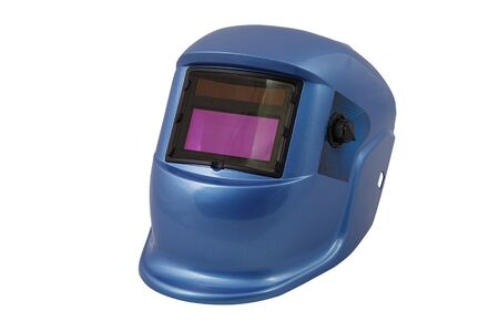 Blue welding mask with chameleon glass isolated white background. Stock Photo