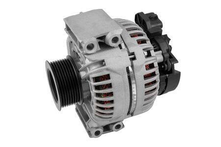 Automotive alternator isolated on white background Stock Photo