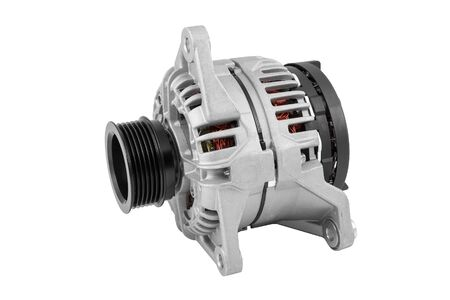 Automotive alternator. Car alternator isolated on white