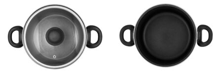 Top view of set of images of cooking pot (pan) with and without lid isolated on white background