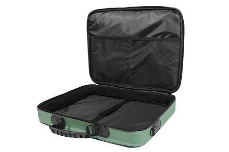 Opened green empty laptop bag isolated on white background  Stock Photo