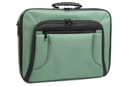 Laptop bag in green color, front view, isolated on white background