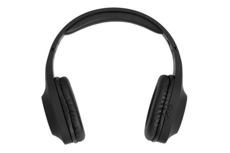 Black circumaural wireless headphones isolated on white background