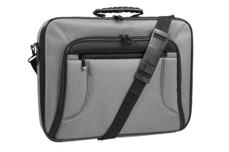 Gray laptop bag with shoulder strap, front view, isolated on white background