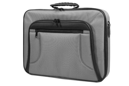 Laptop bag in gray color, front view, isolated on white background  Stock Photo