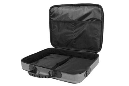 Opened gray empty laptop bag isolated on white background