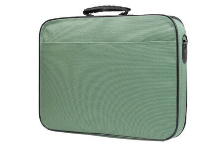 Green laptop bag, rear view, isolated on white background