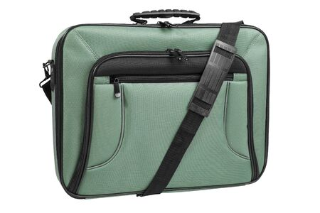 Green laptop bag with shoulder strap, front view, isolated on white background  Stock Photo
