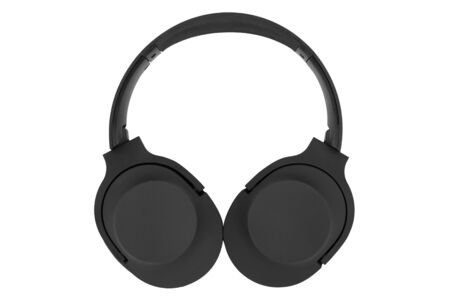 Foldable black circumaural headphones isolated on a white background  Stock Photo