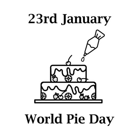 23th january World pie day icon in line art design