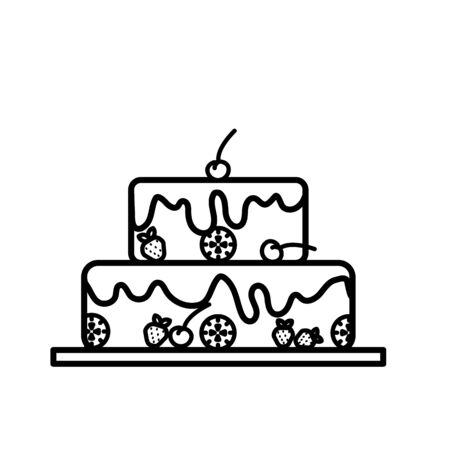 Cake with cherry on the top in line art design