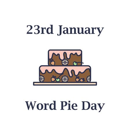 23th january World pie day icon in flat design
