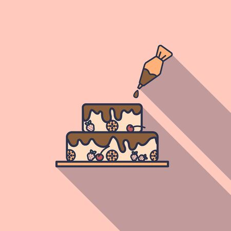 Cake with pastry syringe in flat design isolated