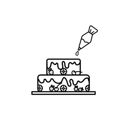 Cake with pastry syringe in line art design isolated