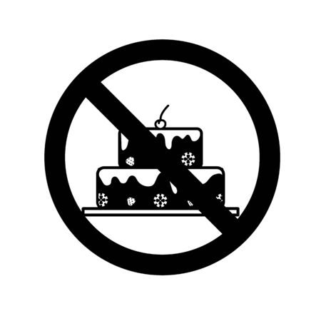 Silhouette of cake in prohibition sign. Healthy food concept.  Illustration