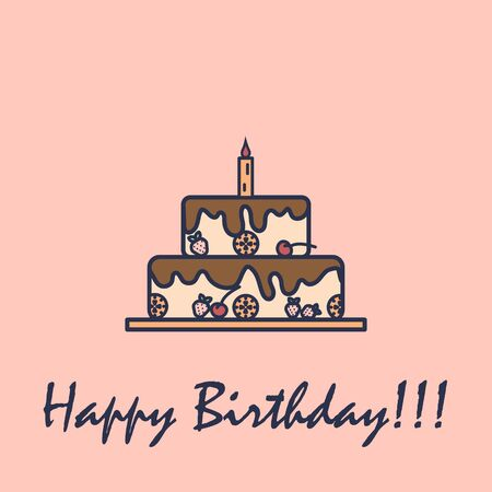 Birthday cake with one candle and text - happy birthday in flat design.