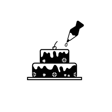 Silhouette of cake with cherry and pastry syringe isolated