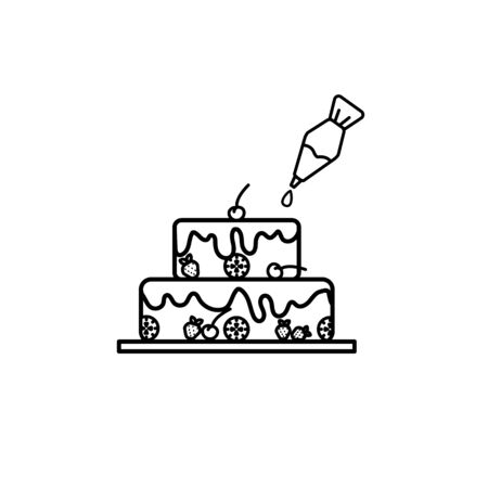 Cake with cherry and pastry syringe in lineart design  Illustration