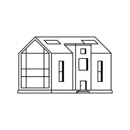 Modern cottage with a large panoramic window on a white background drawn in line art style