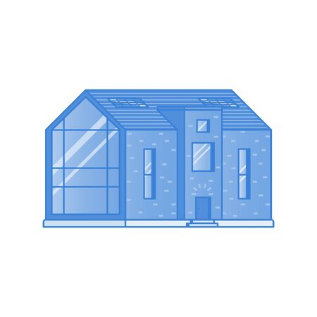 Modern house with a large panoramic window painted in shades of blue on a white background drawn in flat style