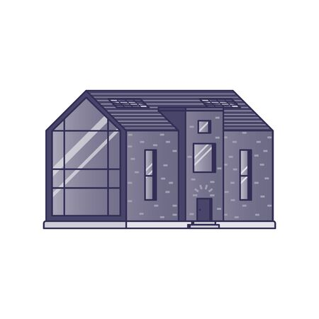 Modern house with a large panoramic window painted in shades of violet on a white background drawn in flat style