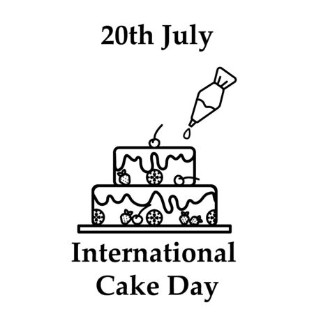 20th July International cake day icon in line art design