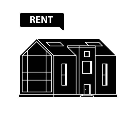 Silhouette of modern house with a large panoramic window with sign Rent on a white background