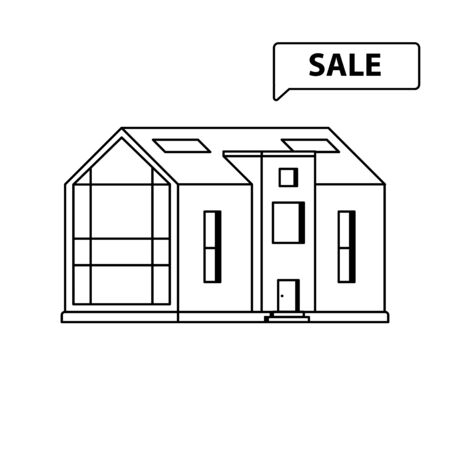 Modern cottage with a large panoramic window with sign Sale on a white background drawn in line art style