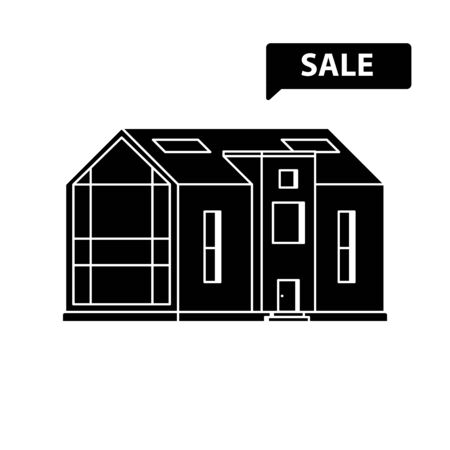 Silhouette of modern house with a large panoramic window with sign Sale on a white background